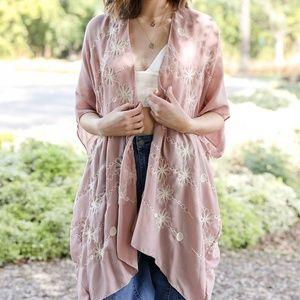 Mauve Floral Stripe Kimono